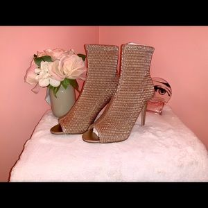 Rose Gold Quilted BCBG Open Toed Heels